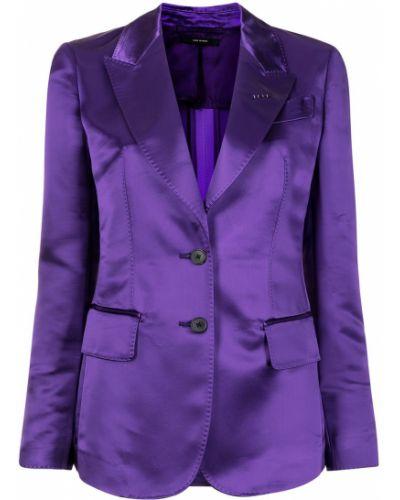 Фиолетовый удлиненный пиджак двубортный с карманами Tom Ford