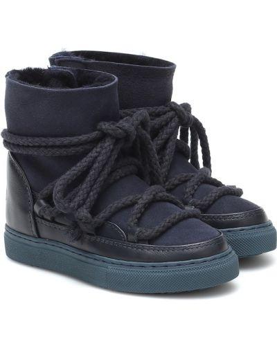 Niebieski klasyczny skórzany buty Inuikii Kids