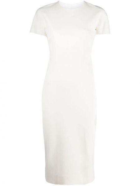 Белое прямое приталенное платье с короткими рукавами Victoria Beckham