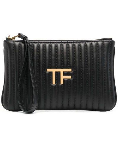 Черная кожаная сумка на молнии Tom Ford