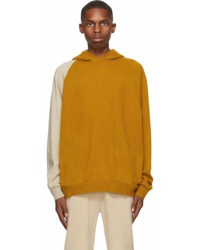 Żółty z kaszmiru długi sweter z kapturem Frenckenberger