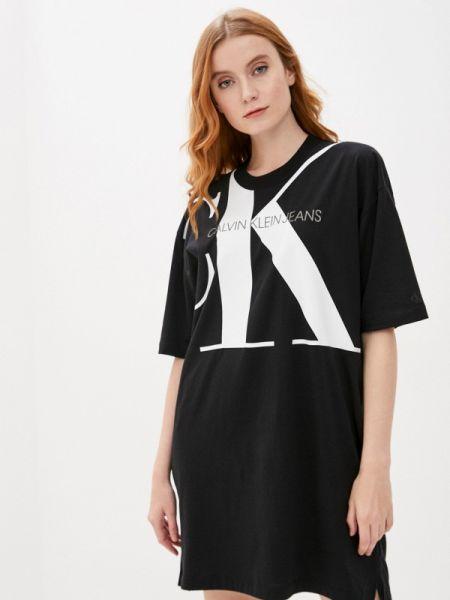 Джинсовое платье футболка черное Calvin Klein Jeans