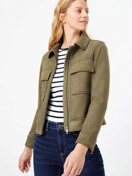 Зеленая кожаная куртка Marks & Spencer
