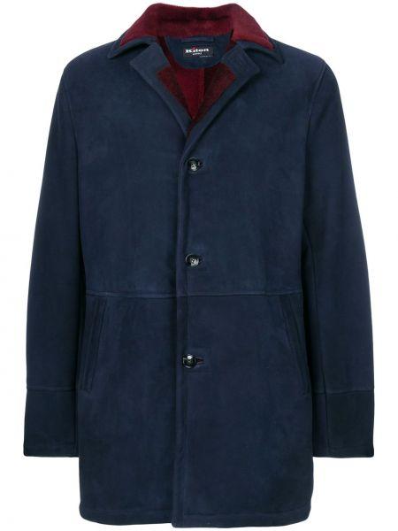 Синяя кожаная куртка на пуговицах Kiton