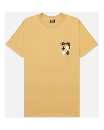 Хлопковая коричневая футболка Stussy