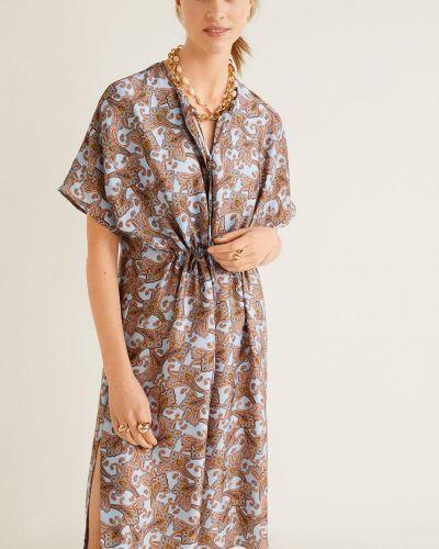 Платье с поясом с рукавами в клетку Mango