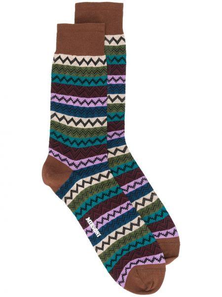 Хлопковые коричневые носки в рубчик Missoni