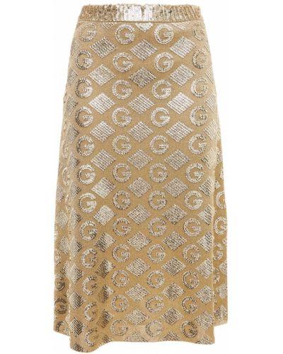 Spódnica złoto na gumce z haftem Gucci