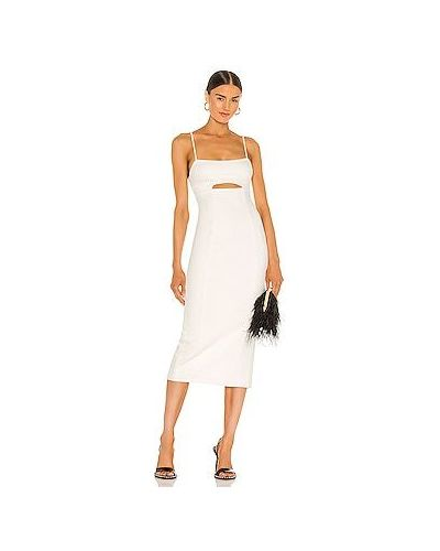 Шелковое белое платье на молнии H:ours