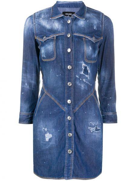 Хлопковое синее джинсовое платье с воротником Dsquared2