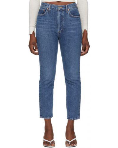 Srebro prosto jeansy na wysokości z kieszeniami Agolde