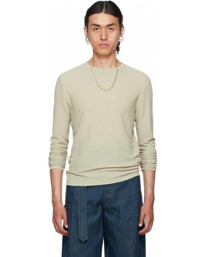 Beżowy sweter z wiskozy z długimi rękawami Vejas
