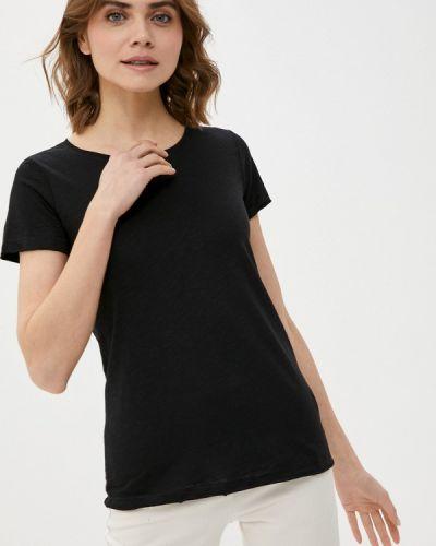 С рукавами черная футболка Sisley