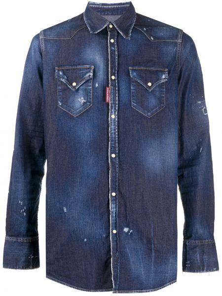 Niebieska koszula jeansowa bawełniana z długimi rękawami Dsquared2