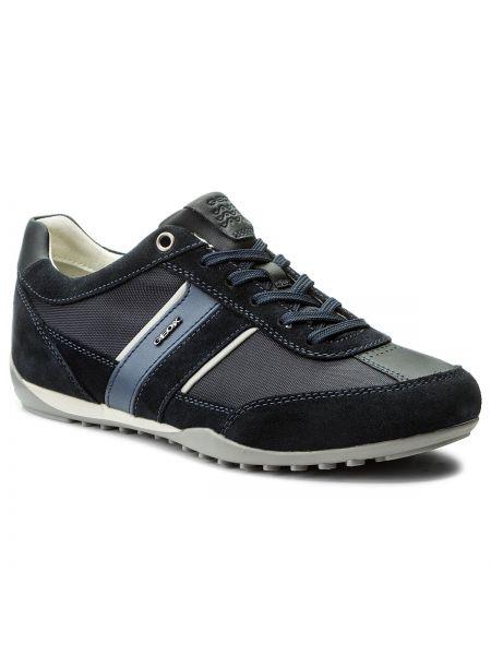 Skórzany sneakersy zamsz sztuczna skóra Geox