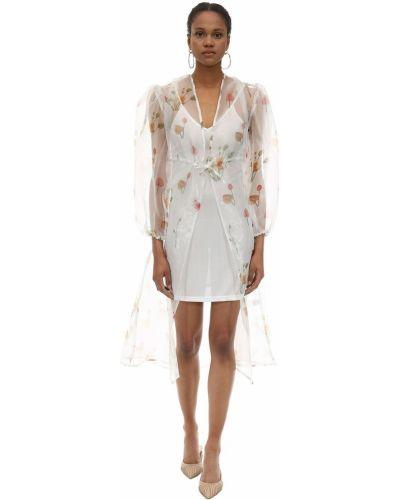 Ażurowa biała sukienka długa w kwiaty Aeryne