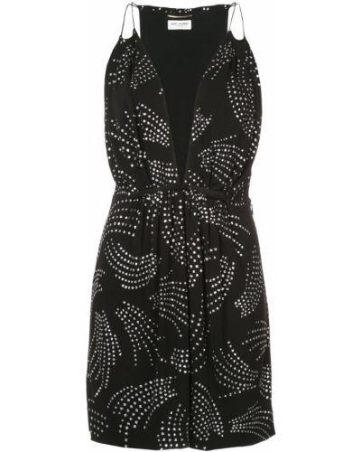 Платье с поясом с декольте на бретелях Saint Laurent
