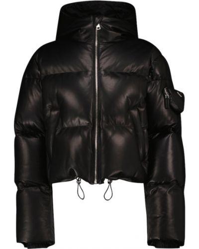 Укороченная кожаная куртка - черная Prada