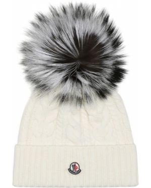 Плюшевая белая классическая шапка бини Moncler