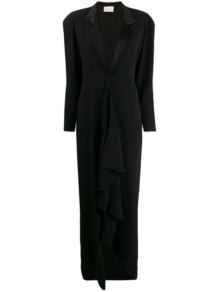 Асимметричный черный длинная куртка из вискозы Giuseppe Di Morabito