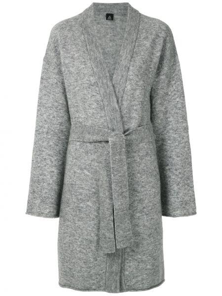 Серое шерстяное пальто с запахом Osklen