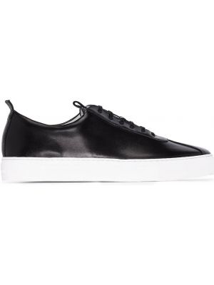 Кружевные кожаные черные кроссовки на шнуровке Grenson