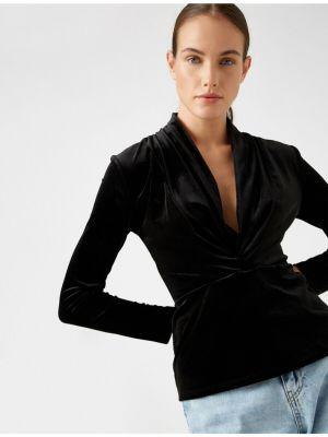 Czarna bluzka z dekoltem w serek z aksamitu Koton