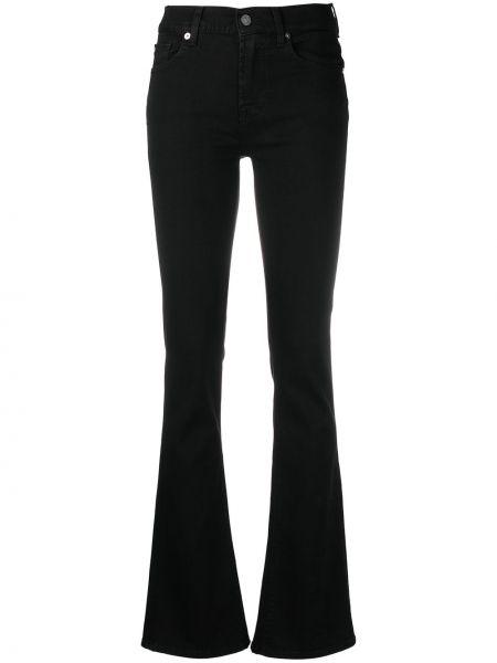 Черные джинсы классические с высокой посадкой с карманами 7 For All Mankind