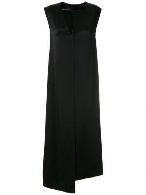 Черное асимметричное платье макси без рукавов с вырезом Gloria Coelho