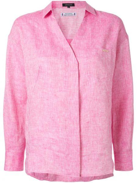 Różowa koszula z długimi rękawami z dekoltem w serek Loveless