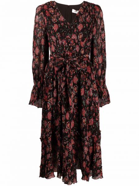 Czarna sukienka rozkloszowana w kwiaty Dvf Diane Von Furstenberg