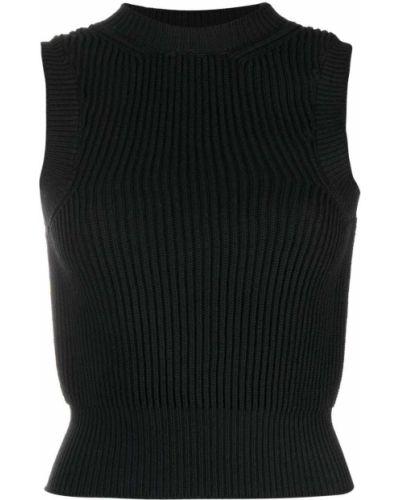 Czarny crop top bez rękawów bawełniany Wandering