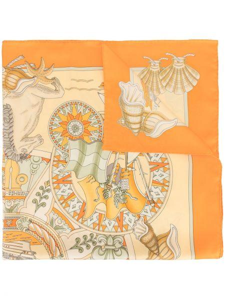 Облегченный желтый шелковый платок Hermes