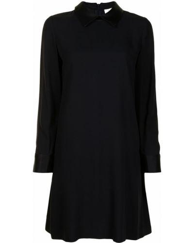 Черное платье макси с воротником из вискозы Goat