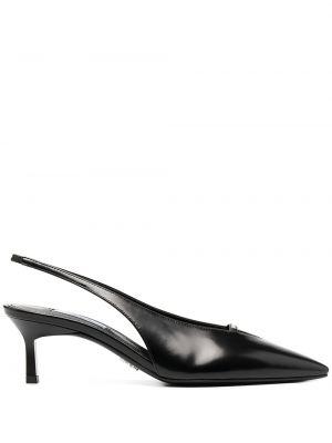 Markowe czarny sandały na obcasie obcasy z prawdziwej skóry z ostrym nosem Prada