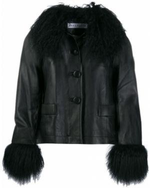 Черная длинная куртка круглая с круглым вырезом Saks Potts