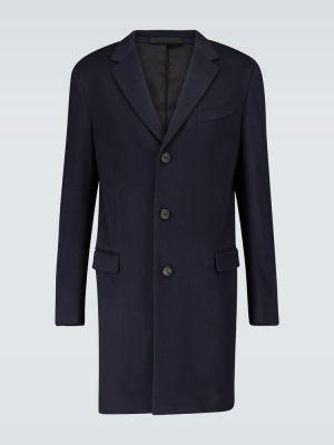 Niebieski jednorzędowy wełniany płaszcz z kieszeniami Lanvin