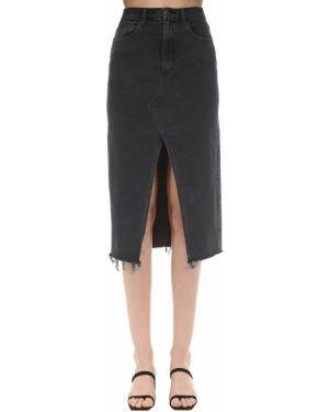 Джинсовая юбка с завышенной талией с карманами 3x1