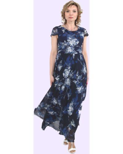 Шифоновое синее платье макси Rozetka