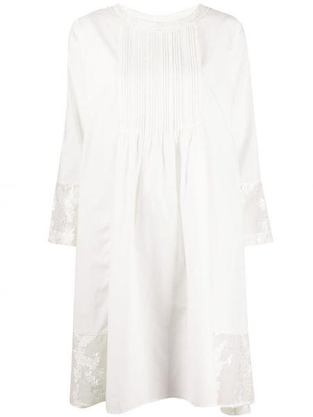 Белое нейлоновое ажурное платье миди свободного кроя Renli Su