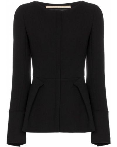 Черная длинная куртка с манжетами круглая Roland Mouret