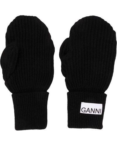 Wełniany czarny rękawiczki z łatami Ganni