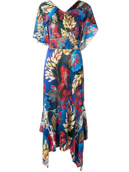Платье мини с цветочным принтом с V-образным вырезом Peter Pilotto