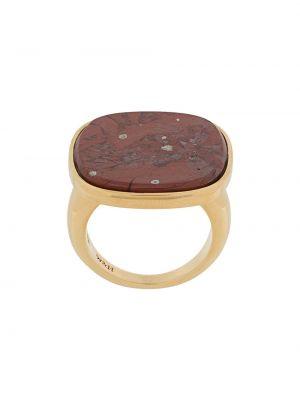 Золотистое кольцо с агатом золотое Wouters & Hendrix