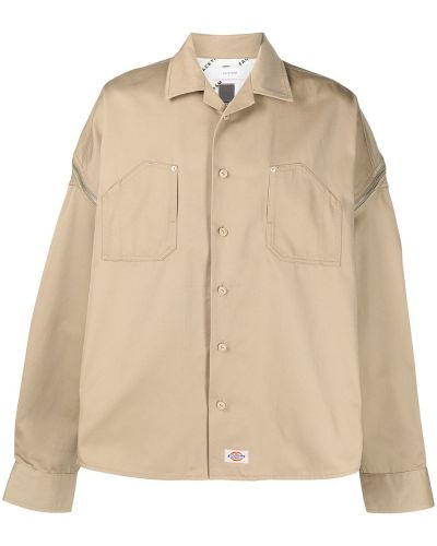 Beżowa klasyczna koszula bawełniana z długimi rękawami Facetasm