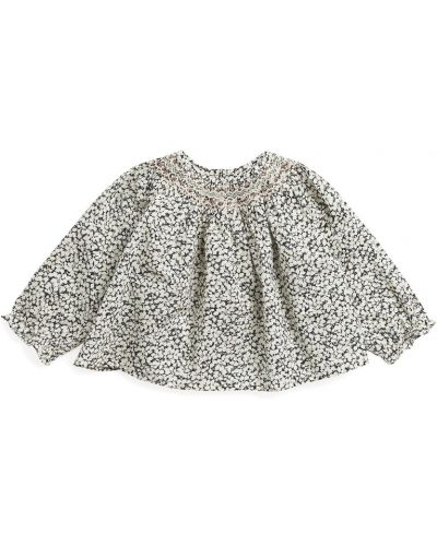 Хлопковая бежевая блузка на пуговицах Bonpoint