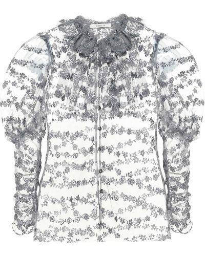 Серебряная блузка с вышивкой из фатина Rodarte