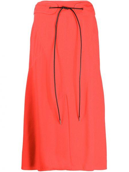 Красная кожаная юбка с разрезом Victoria Beckham