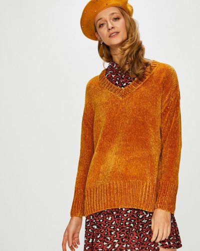 Желтый вязаный свитер с вырезом Broadway