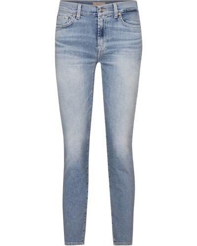 Хлопковые синие зауженные джинсы-скинни 7 For All Mankind